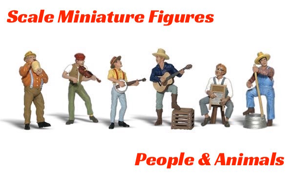 MINIATURE FIGURES (People & Animals) SCALE MINIATURE HAND-PAINTED FIGURES - PEOPLE, ANIMALS & ACCESSORIES