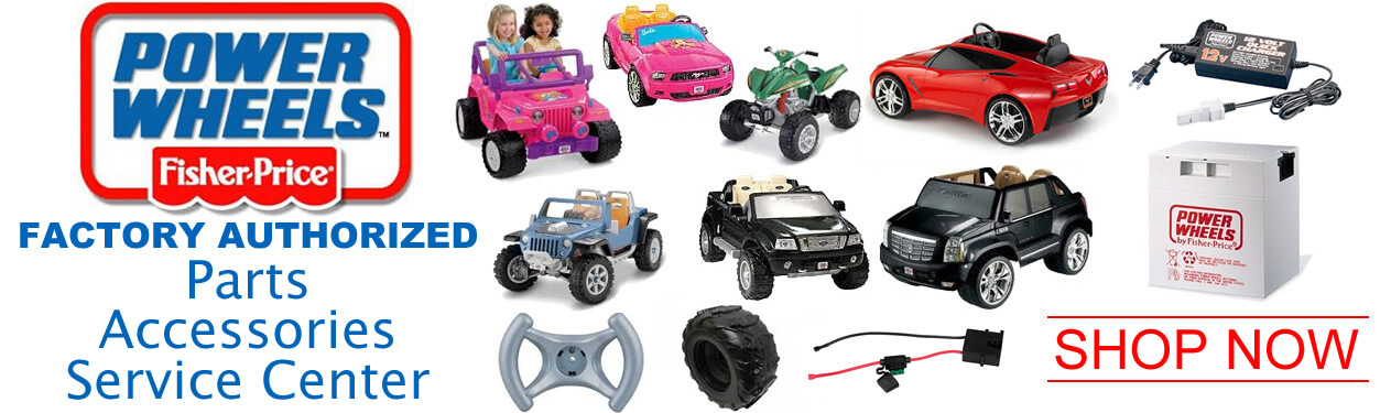 Oakridge Hobbies is a full service Factory Authorized Power Wheels Parts and Service Center. See our huge selection of Power Wheels Ride On Parts link (Power Wheels - All Available Replacement Parts). Use our friendly online parts list which includes detailed diagrams, manuals, and parts lists to help you find everything from Power Wheels Batteries, Chargers, Wheels, Motors, Stickers, and more!