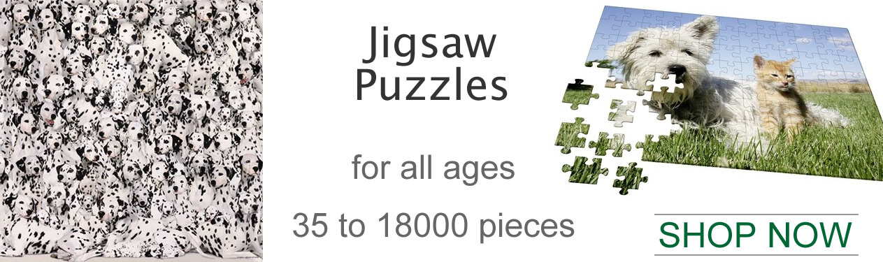 JIGSAW PUZZLES Our Jigsaw Puzzle Collection includes the largest selection of puzzle manufacturers including Great American Puzzle Factory, UNICORN, Hobbico Visual Echo 3D Jigsaw Puzzles, CEACO Jigsaw Puzzles, Editions Ricordi Jigsaw Puzzles, White Mountain Puzzle Co, Serendipity Jigsaw Puzzles, Ravensburger Puzzles, Masterpieces Puzzles, SunsOut Puzzles, F.X. Schmid Puzzles, Buffalo Games Puzzles, Wrebbit Puzzles, Clementoni Puzzles, BC Bones Puzzles, Melissa and Doug Puzzles. With jigsaw puzzle types including large format jigsaw puzzles, shape jigsaw puzzles, wooden puzzles, Photomosaic, Americana, Thomas Kinkade puzzles, John Deere puzzles, sound puzzles, 3D puzzles and puzzle themes. Our selection of puzzles covers everything from our Puzzle of the Month Club to Frame Your Own Puzzle. From City Skyscraper 3D puzzles to Museum Famous Works of Art puzzles to Religious puzzles, From Thomas The Tank Engine Puzzles and Dinosaur Puzzles to Thomas Kinkade and Famous Wonders of the World Landmarks Puzzles. Plus PuzzleSpheres, PuzzleBalls, 3-Dimensional Round Globe and Spherical Jigsaw Puzzles. Our jigsaw puzzles come in various piece counts including 100 - 300 Piece Jigsaw Puzzles, 500 - 750 Piece Jigsaw Puzzles, 1,000 Piece Jigsaw Puzzles, 1,500 - 2,000 Piece Jigsaw Puzzles, 3,000 - 18,000 Piece Jigsaw Puzzles