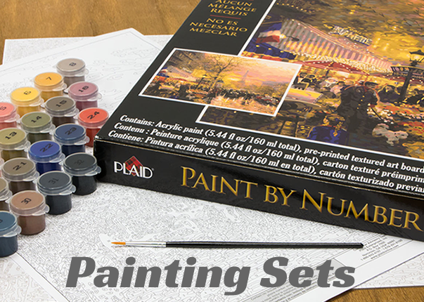 "Never tried paint-by-number before? These kits are an ideal project for a first time painters or an advanced experienced painting by number enthusiast. Our beginner kits are simple kits that teach kids and adults how to create beautiful pieces. You'll find a nice selection of ""Beginner"" and ""Intermediate"" kits to choose from. Dimensions PaintWorks, Royal Langnickel and Reeves paint by numbers give incredible attention to detail and artistic technique and are now brought to you to master! The Dimensions Paint By Number Kits' Oil and Acrylic paints blend beautifully and the textured art boards of these paint by number sets lends to the feel of real canvas. In fact, our Royal & Langnickel Paint By Number Kits allow you to take your painting to a much higher level. With this level of learning to paint kit, the canvas has the grey-scale image printed on the canvas, without prenumbered sections, allowing you to paint the colors as you see them on the original, following the grey-scale preprinted image, while applying a blending technique that when finished, looks more professional and of higher quality."